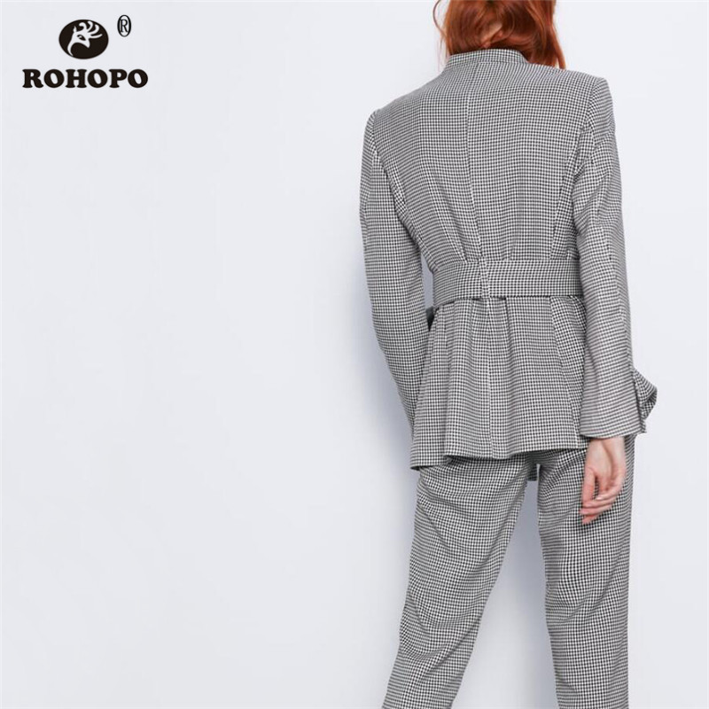 ROHOPO V Collar Waistband Houndstooth Tweed Blazer Side Welted Pockets Back Pleated Hem Office Ladies Plaid Autumn Outwear #9671
