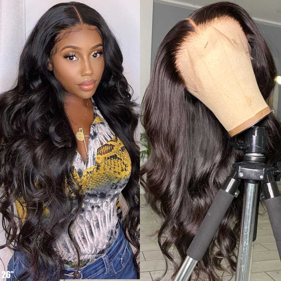 13x4 Glueless Lace Front Human Hair Wigs Pre Plucked Body Wave Wig 180 Density Wavy Lace Front Wig Remy Brazilian Wig For Women