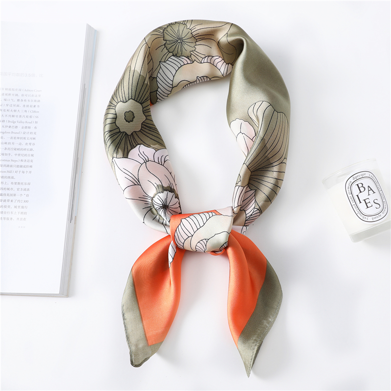 Hangzhou China Silk Floral Pattern Silk Scarf Women Spring Summer New Square Scarf High Quality Foulard Bandana Neckerchief