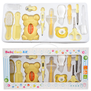Image 1 - 13Pcs Baby Health Care Set Kids Grooming Kit Safety Manicure Nail Clippers Comb Emery Hairbrush Thermometer Baby Care Tool