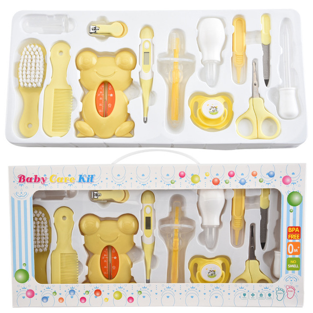 13Pcs Baby Health Care Set Kids Grooming Kit Safety Manicure Nail Clippers Comb Emery Hairbrush Thermometer Baby Care Tool