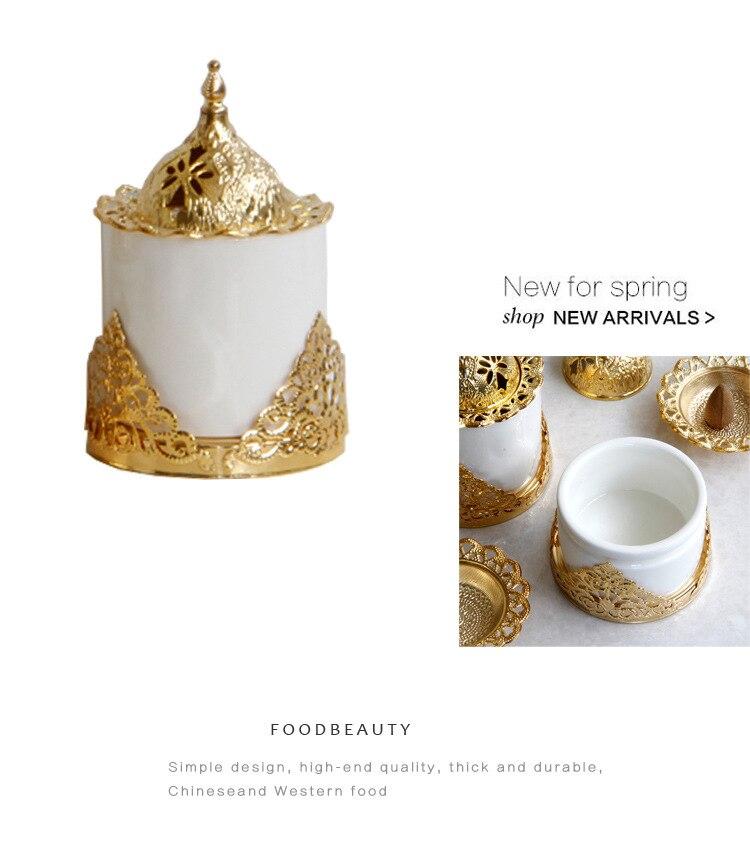 Creative golden wrought iron ceramic combination incense burner aromatherapy furnace furniture decoration ornaments