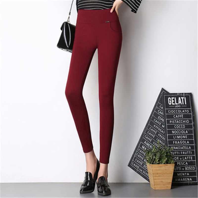 Pantalones pitillo planos para mujer Pantalones con bolsillos de cintura alta estilo OL pantalones de trabajo
