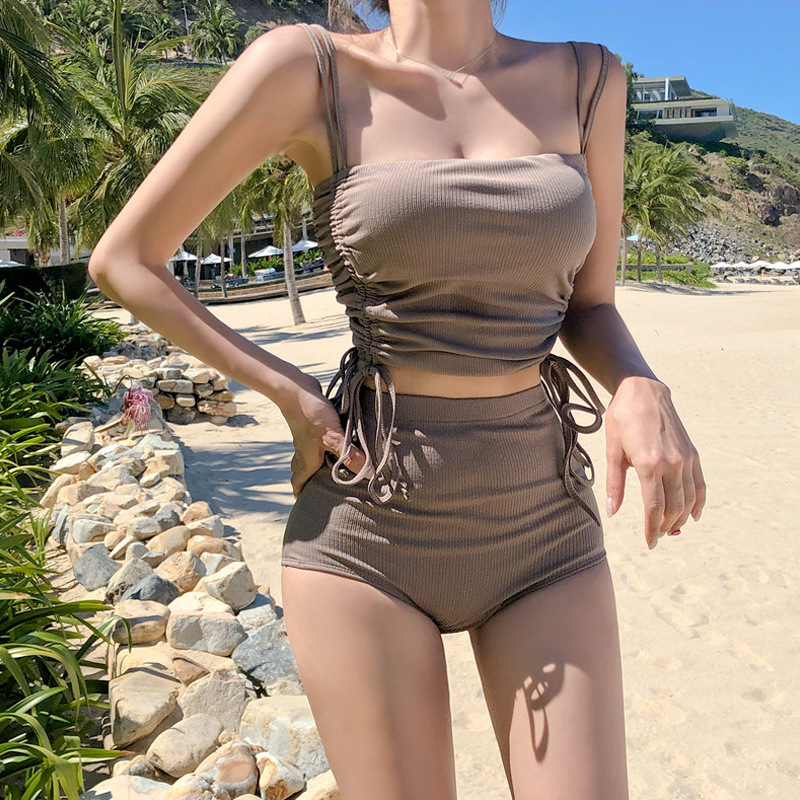 Special Offer Women's South Korea New Style Points Small Bust Online Celebrity Tour Bathing Suit High-waisted Body Two-Piece Set