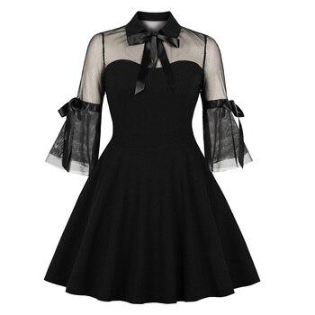 Rosetic Women Gothic Sexy Mini Dress Black Mesh Patchwork See-Through Flare Sleeve Draped Elegant Plus Size Party Short Dresses