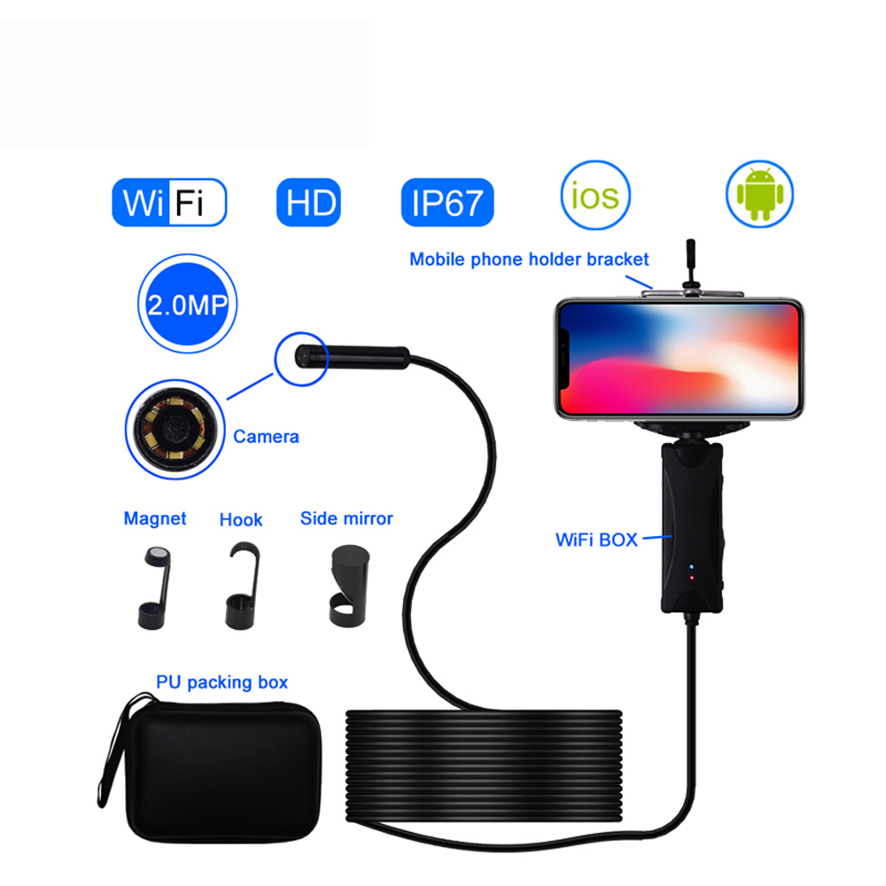 Endoscope Camera 200W Pixel Hard Wire WIF HD Waterproof Borescope Industrial Handheld Borescope Wireless Monitor for iOS Android
