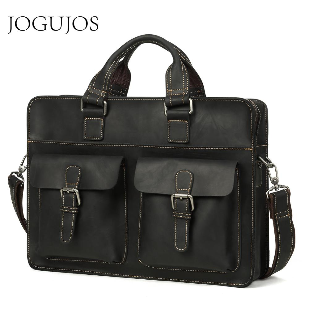 JOGUJOS Men's Genuine Leather Men Briefcase Crazy Horse Leather Messenger Bag Male Laptop Bag Travel Bag Leather Briefcase Man