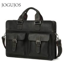 JOGUJOS Mens Genuine Leather Men Briefcase Crazy Horse Messenger Bag Male Laptop Travel Man