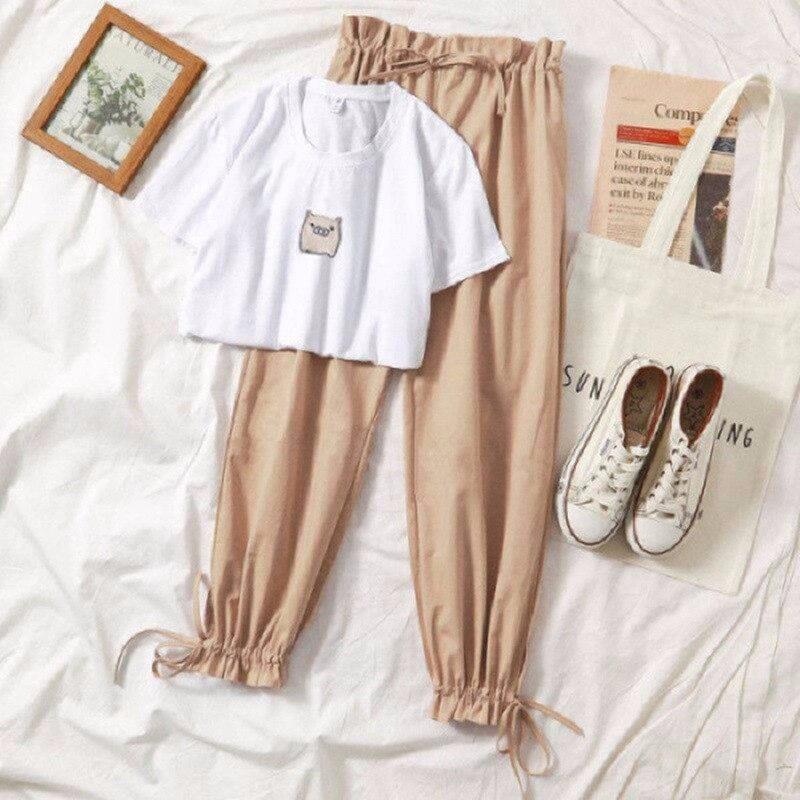 Duas peças conjunto de roupas de verão para as mulheres 2019 novo dresy damskie moda casual calças perna larga camiseta impressão 2 piece set mulheres