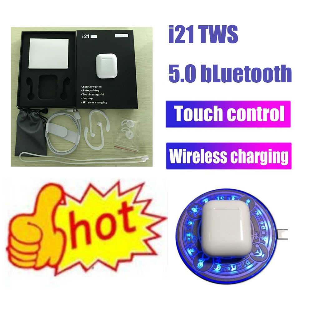 i21 TWS 1:1 size AP2 wireless earphones Bluetooth 5.0 Earphone PK w1 chip Touch control +wireless charging Earbus