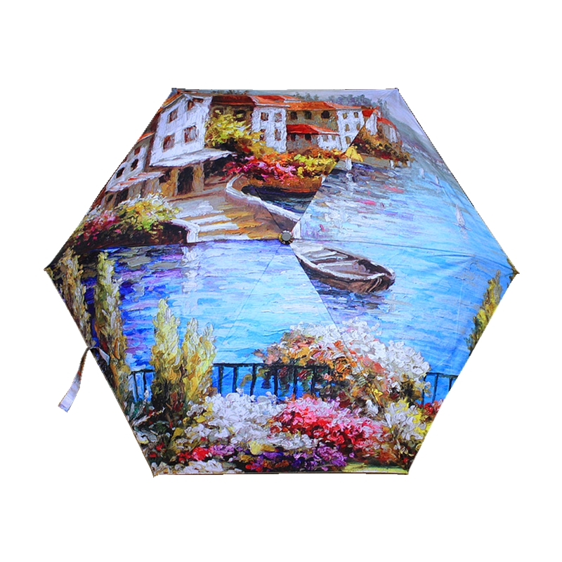 Weight 200g Super Light And Small Folding Umbrellas Women European Landscape Oil Painting Umbrella Lady Travel Umbrella