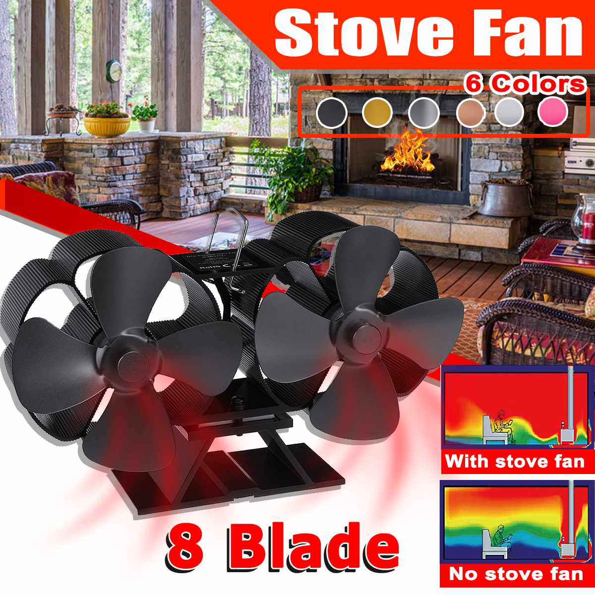 8 Blades Heat Powered Stove Fireplace Fan For Home Wood Burning Fireplace Eco-Friendly Circulate Warm Air Save Fuel Efficiently