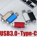 Novo USB 3.0 Tipo-C usb flash drive 256gb 128gb gb gb 16 32 64gb Pen Drive De Metal Personalizado USB Stick para o Tipo C Dispositivo de Disco U Pendrive