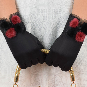 Women Winter Gloves Full Finger Glove Velvet Warm Glove Wrist Thick Mitten bow lace Elegant Luxurious Gift for Women guantes(China)
