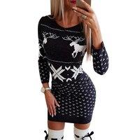 Женское трикотажное платье, принт с рождественским оленем, мини-платье, Осень-зима, круглый вырез, длинный рукав, женское облегающее платье, ...