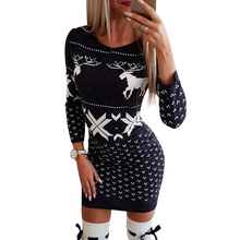 Women Knitted Dress Christmas Elk Printed Mini Dress Autumn