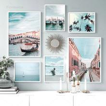 Океан паром кокос Венеция Город Небо настенная живопись холст