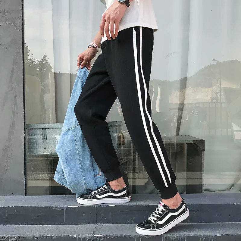 Japanese-style Stripe Spell Color Skinny Harem Pants Men's Loose-Fit Teenager Athletic Pants Beam Leg Casual Pants Students Unif