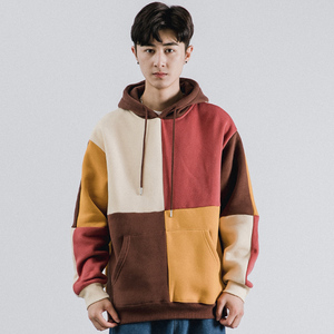 Image 4 - Hip Hop Hoodies Sweatshirt 2019 Streetwear Farbe Block Patchwork Hoodie Pullover Harajuku Männer Herbst Winter Fleece Hoodie Baumwolle