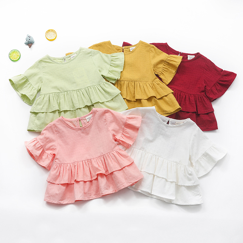Baby Girl Dress Blouses Cotton candy color Summer Lotus Ruffles Sleeve Infant Girls Clothing Princess Dress Baby Girl Clothes