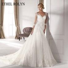 فستان زفاف أنيق من ETHEL ROLYN ذو رقبة على شكل v وأكمام طويلة موضة 2020 مزين بغمد الأميرات فساتين زفاف أنيقة Vestido De Noiva