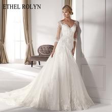 Ethel rolyn sexy v neck ilusão vestido de casamento de manga longa 2020 apliques princesa bainha elegante vestidos de casamento vestido de noite