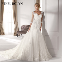 אתל ROLYN סקסי V צוואר ארוך שרוול שמלת כלה 2020 אפליקציות נסיכת נדן אלגנטי שמלות כלה Vestido דה Noiva