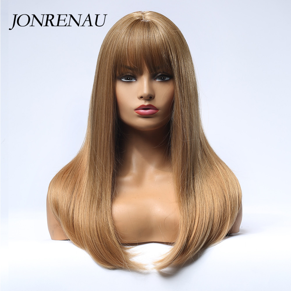 JONRENAU 5 Colors Long Silky Straight Hair Synthetic Golden Blonde Wigs With Bangs For White/Black Women Party