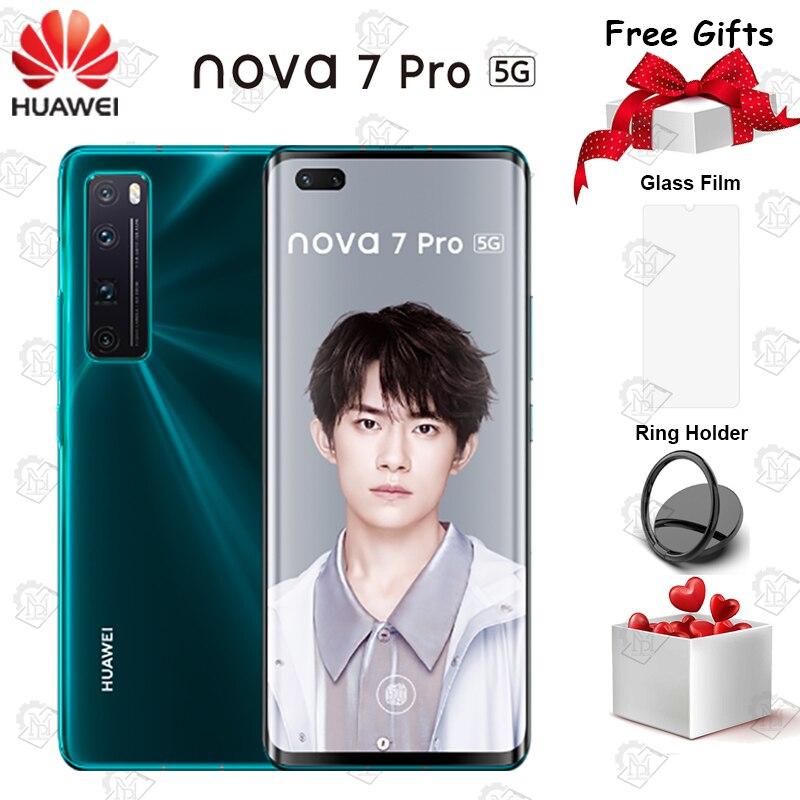 Huawei nova 7 pro 5g celular original, tela oled de 6.57 polegadas, 8g + 128g, kirin 985 soc smartphone nfc, câmera principal de 4000mah 64.0mp