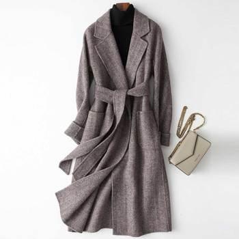 2019 женское элегантное шерстяное пальто с отложным воротником, женское длинное шерстяное пальто темно-серого цвета, зимнее теплое пальто ...