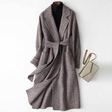 2020 Women Woolen Coat Elegant Turn Down Collar Women Long Woolen Coat Dark Gray Design Winter Warm Coat Casaco Feminino cheap sherhure Cashmere Polyester COTTON M006 Turn-down Collar Covered Button REGULAR Full Wide-waisted 70 Wool Casual Solid