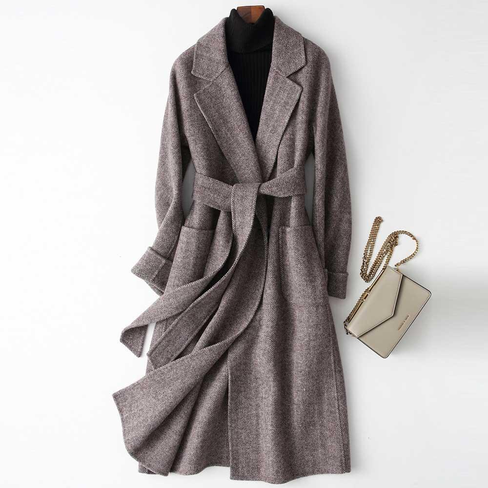 2020 Women Woolen Coat Elegant Turn Down Collar Women Long Woolen Coat Dark Gray Design Winter Warm Coat Casaco Feminino