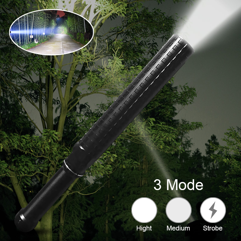 Telescopic Self Defense LED Flashlight Zoomable Waterproof XPE Q5 Flashlights Portable 3 Modes Camping Security Stick Torch Lamp