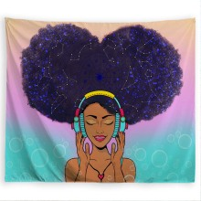 PROCIDA Tapestry Wall Hanging  Art Polyester Fabric Black Girl Theme, Wall Decor for Dorm,Bedroom, Nail included