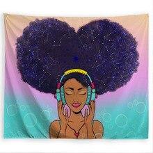 PROCIDA Tapestry Wall แขวนผ้าโพลีเอสเตอร์สีดำสาวธีม Wall Decor สำหรับหอพัก,ห้องนอน,เล็บรวม