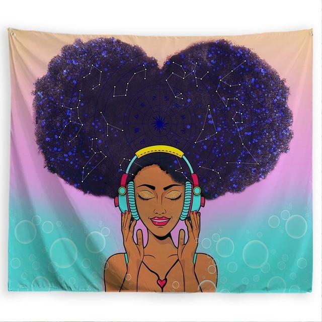 PROCIDA гобелен на стену искусство полиэстер ткань черная девушка тема, Настенный декор для общежития, спальни, ногтей включены