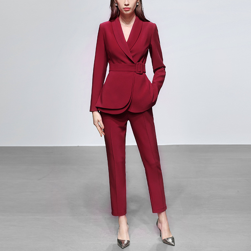 Fashion Women Pants Suits Formal Clothes OL Office Ladies Business Work Wear Two Piece Stylish Blazer Jacket Pantsuits Female