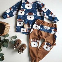Комплекты одежды для новорожденных мальчиков и девочек 0-24 месяцев, топ с длинными рукавами и принтом животных, штаны, леггинсы, зимняя одежда