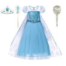 2-10T Toddler Girls Children's Summer Snow Queen Princess Elsa Party Dressing Up Cosplay Costume Dress цена