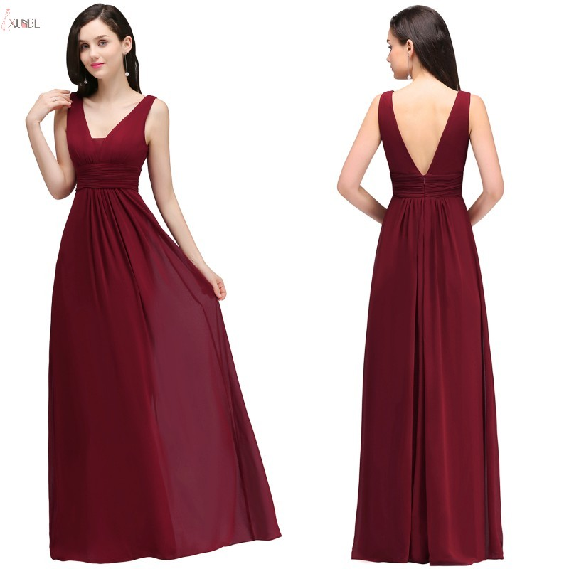 Burgundy Chiffon Long Bridesmaid Dresses 2019 Sexy A Line Wedding Party Guest Gown Sleeveless Robe Demoiselle D'honneur