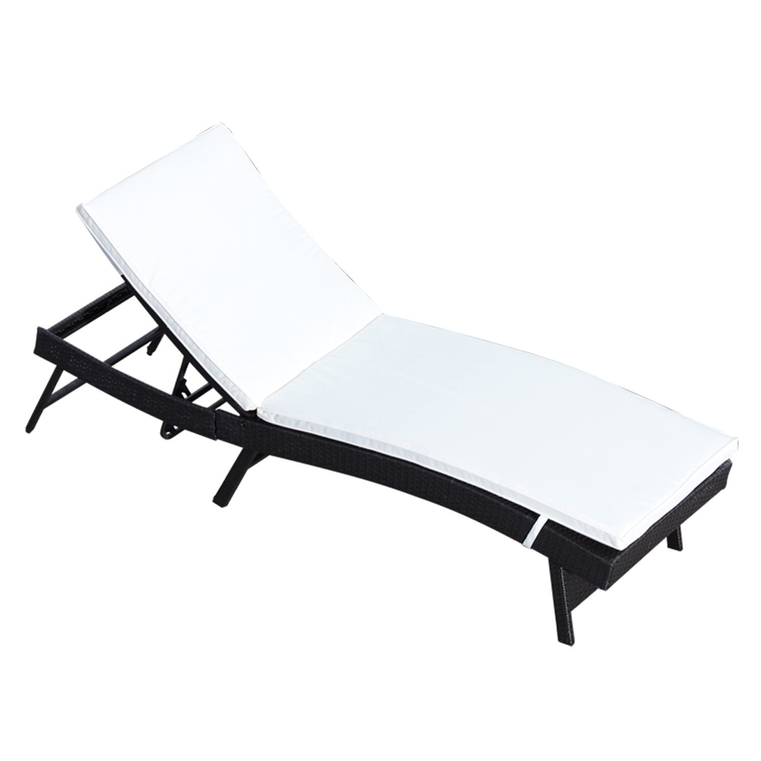 Outsunny Bed Beach Chair Outdoor Furniture Sun Adjustable With Cushion Rattan Garden 200x71x89 Cm Dark Coffee
