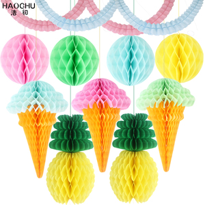 11pcs/lot Tissue Paper Lantern Ice Cream/Pineapple Honeycomb Ball Garland For Home Garden Wedding Party Decoration Baby Shower