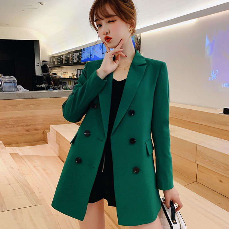 Women Casual Blazer Jacket New Fashion 2019 Spring Autumn Double Breasted Office Lady Long Blazers Coats Female Suit S011-in Blazers from Women's Clothing