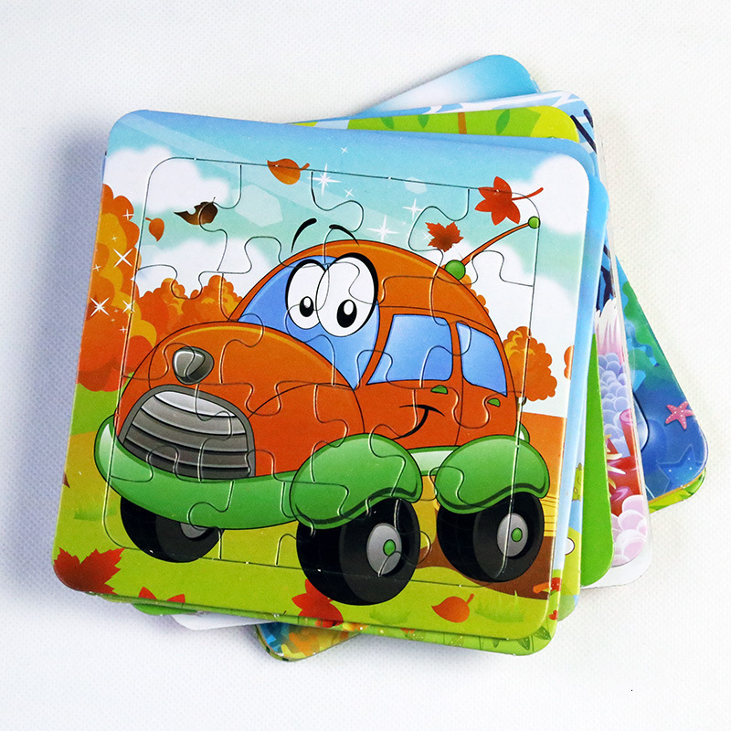 9Pcs Cartoon Kids Paper Puzzle Jigsaw Toys For Children 14*14CM Mini Size Animal/Traffic/Fruit Random Style Baby Educational Toy
