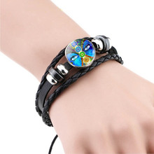Black Leather Bracelet Seven Chakra Pattern Bangle Bracelets Om Yoga Symbol Lucky Charm Indian Jewelry