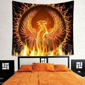 Simsant Fire Phoenix Tapestry Moon Flower Bohemian Hippie Wall Hanging Tapestries for Living Room Bedroom Home Dorm Decor