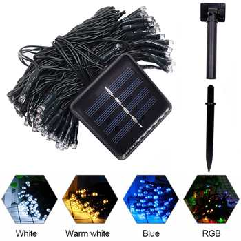 Newest 12M 100 LED Outdoor Solar Lamp LED String Lights Fairy Holiday Christmas Party Garlands Solar Garden Waterproof Lights