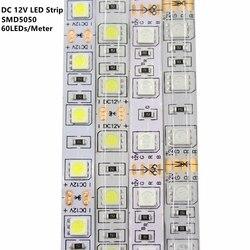 DC12V Светодиодная лента 5050SMD 60 Светодиодный s/M DIY гибкий светодиодный светильник водонепроницаемый RGB 5050 светодиодный лента для ТВ фоновый св...