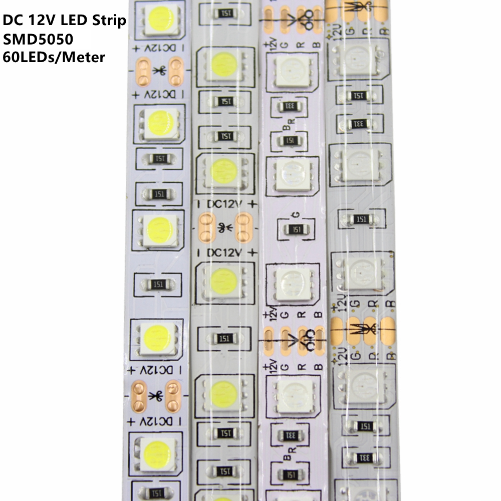 DC12V LED Strip 5050SMD 60LEDs/M DIY Flexible LED Light Waterproof RGB 5050 LED Tape For TV Background Lighting Decoration