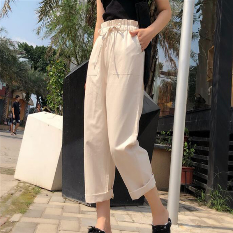 Women Pants 2020 Spring Summer Fashion Female High Waist Solid Loose Harem Pant Pencil Trousers Casual Cargo Pants Streetwear